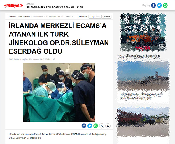 İrlanda Merkezli Ecams'a Atanan İlk Türk Jinekolog Op. Dr. Süleyman Eserdağ Oldu!